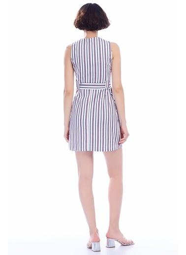 İroni Renkli Çizgili Mini Kolsuz Elbise Lacivert